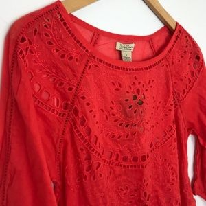 New! LUCKY BRAND | Eyelet Lightweight Blouse Red S